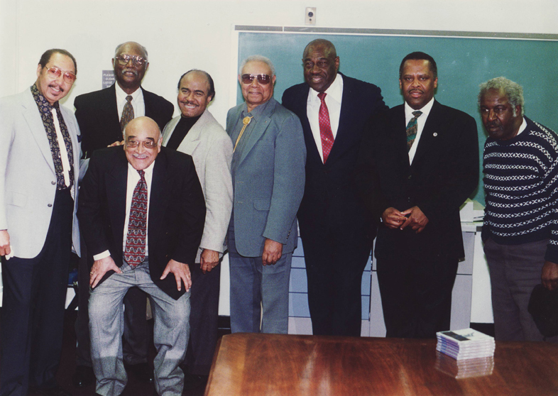 "Members of the HU Legendary ""Swing Masters"" Jazz Orchestra welcome Benny Golson in 1996"