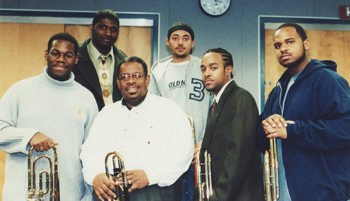 Jazz great trombonist Fred Wesley, Jr. with the HUJE trombones, 2004