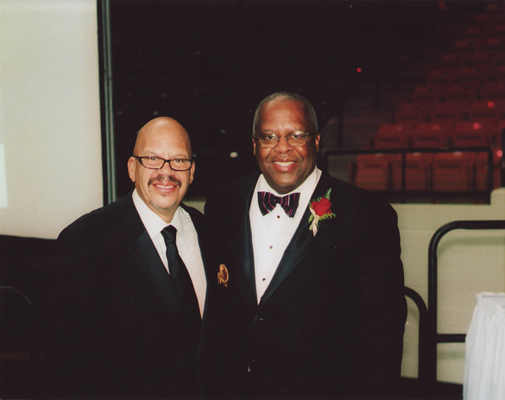 Professor Irby with radio personality Tom Joyner